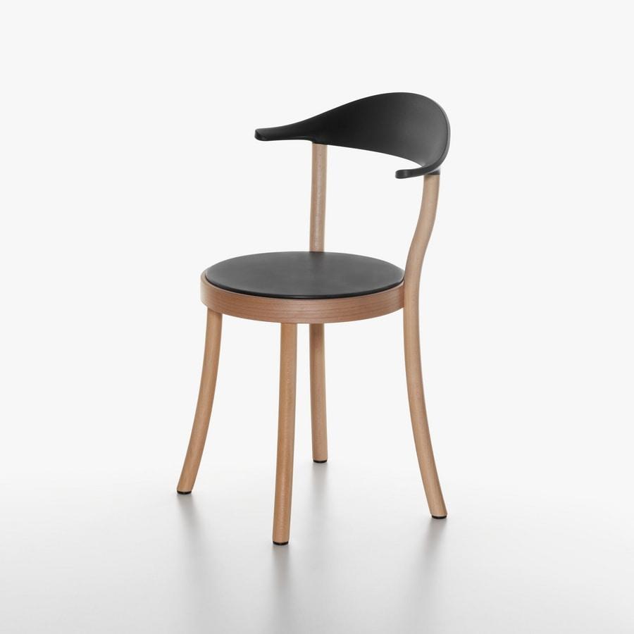 Monza Bistro mod. 1212-20, Chaise avec siège rond, en hêtre et en plastique