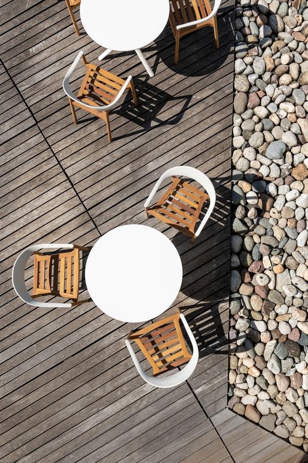 Monza mod. 1209-40 outdoor, Fauteuil extérieur en bois massif iroko