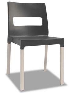 Natural Diva, Chaise moderne en bois et tecnopolymère, empilable