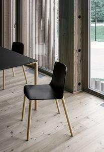 Rama Wood Base polypropylene, Chaise en plastique avec pieds en bois, pour conférences