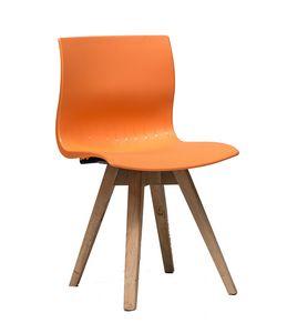 WEBBY 333P, Chaise en bois avec coque en nylon