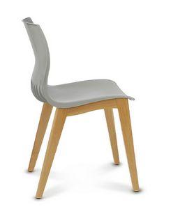 WEBBY 345, Chaise en plastique et bois