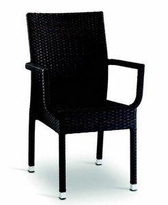 9400, Chaise d'extérieur tissée avec accoudoirs