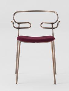 ART. 0048-MET-IM GENOA, Chaise en métal avec accoudoirs, assise rembourrée