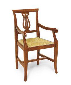 Art. 101/A, Chaise en bois avec accoudoirs, décoration en forme de harpe