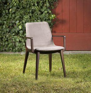 Bassano avec accoudoirs, Chaise en bois avec accoudoirs