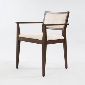 BS513A - Chaise avec accoudoirs, Chaise en bois avec accoudoirs