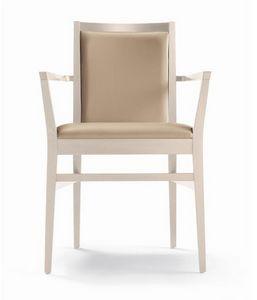 ER 440041, Chaise en bois avec accoudoirs, pour restaurant