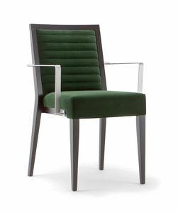 GINEVRA SIDE CHAIR 031 SB F, Chaise en bois avec accoudoirs en métal
