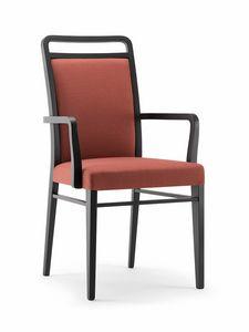 HAVANA SIDE CHAIR WITH ARMS 020 SB, Chaise en bois rembourrée, avec accoudoirs