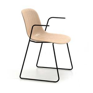 Máni Wood SL AR, Chaise avec accoudoirs et piètement luge
