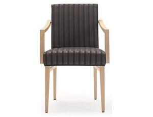 Milena-P1, Chaise en bois pour restaurant et hôtel, avec accoudoirs