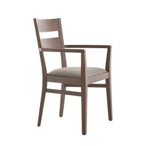 MP472AP, Chaise avec accoudoirs, en bois de hêtre