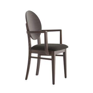 MP49WP, Chaise avec accoudoirs, dossier rond en bois