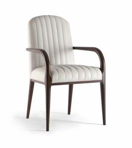 PARIGI SIDE CHAIR 038 SB, Chaise rembourrée en bois massif, avec accoudoirs