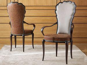 Pompeivm Chaise, Chaise avec accoudoirs, revêtue de cuir