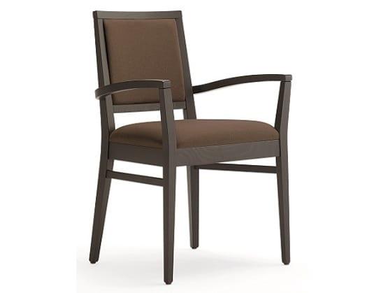 Saba-P1, Chaise en bois avec accoudoirs, rembourrée