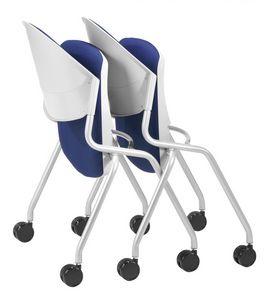 NESTING DELFI 088 R S, Chaise avec pliage siège rembourré, les jambes avec des roues