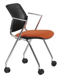NESTING DELFINET 075 R, Chaise avec base et accoudoirs en métal chromé, avec roulettes