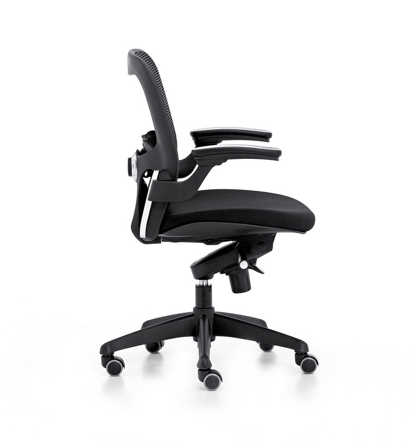 Iko 01, Moderne chaise de bureau, roulettes pivotantes, ascenseur de gaz