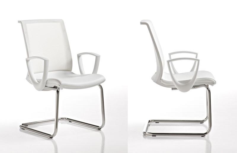 Key blanc, Chaise pivotante avec maille dos, pour le centre d'appel