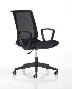Key noir, Siège de travail réglable, avec des roues, bureau moderne