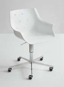More 5R, Chaise design réglable, avec des roues, enveloppe polymère