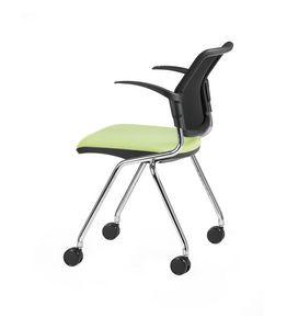 NESTING DELFINET 074 R, Chaise à roulettes et accoudoirs idéal pour bureaux opérationnels