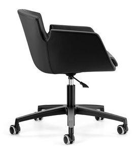 NUBIA 2905, Chaise rembourrée, base en aluminium avec des roues pour le bureau