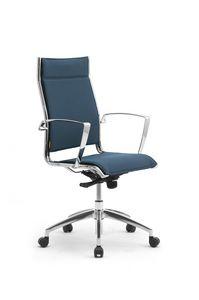 Origami X, Chaise rembourrée pour bureau avec accoudoirs en aluminium