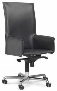Pasqualina fauteuil mobile haut 10.0093, Chaise de bureau à roulettes, avec dossier haut