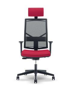 UF 430 / A, Chaise solide et silencieux pour le bureau, avec des lignes carrées