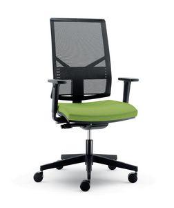 UF 431 B, Chaise moderne avec dossier et roues mesh, pour le bureau