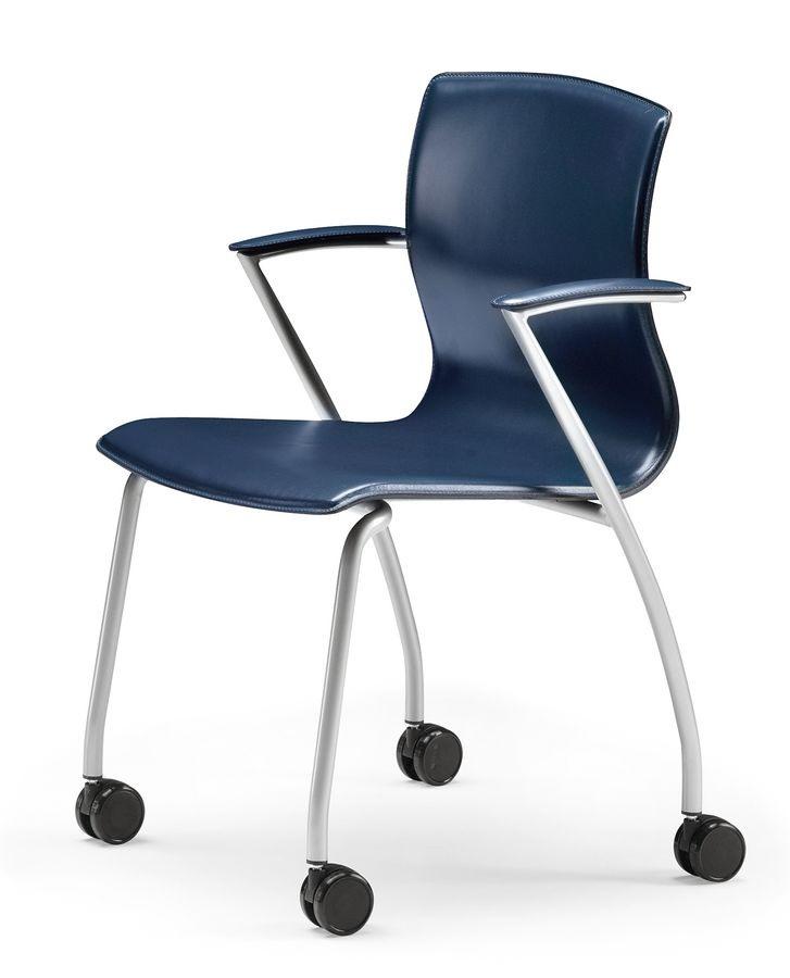WEBTOP 384 R, Chaise en métal avec des roues, siège recouvert de cuir