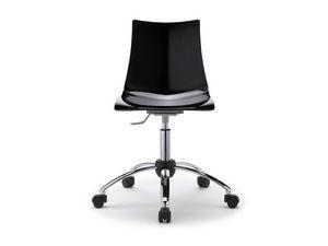 Zebra antishock with wheels, Chaise en acier et polycarbonate avec des roues, pour le bureau