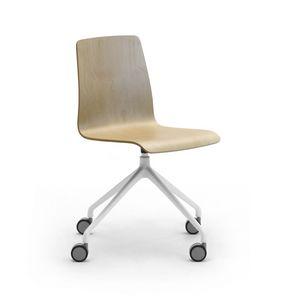 Zerosedici Wood pivot, Chaise pivotante avec roulettes