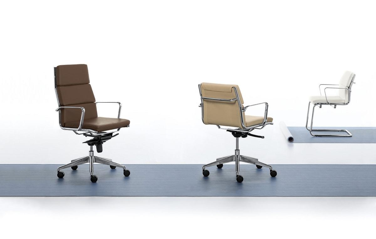 Aalborg Soft 03, Chaise visiteur, tubulaire en acier chromé, pour le bureau