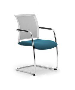 Cometa W relax, Chaise en porte-à-faux rembourrée, avec dossier net