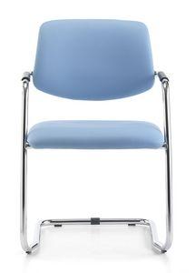 Samba 01, Chaise visiteur avec de l'acier tubulaire, pour le bureau
