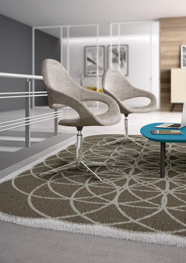Samba Plus Lame, Chaise moderne avec base pivotante avec 4 courses