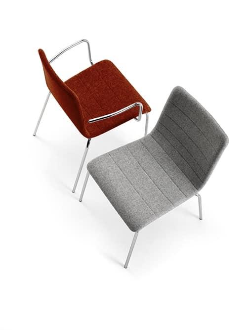 Traccia AR, Chaise en métal empilable, avec le tissu ignifuge