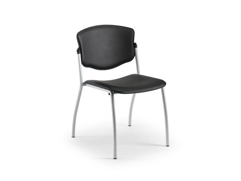 Valeria 65341, Chaise en métal recouvert de cuir, pour salles d'attente