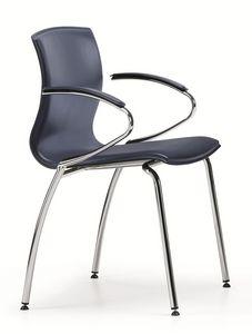 WEBTOP 389, Chaise coque en métal et en bois de hêtre recouvert de cuir