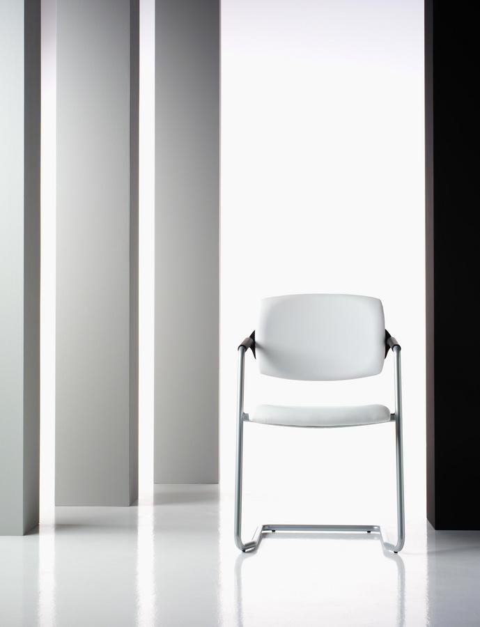 Ariel, Chaise visiteur, rembourré, en aluminium, pour le bureau