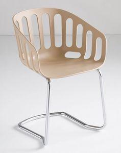 Basket Chair CTL, Chaise visiteur, base en métal, coque en technopolymère