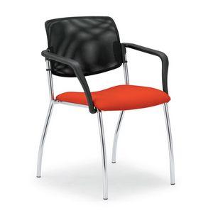 Laila 0583L, Chaise avec dossier en maille, pour salles de réunion et bureaux