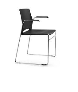 TREK 031, Chaise avec luge et les bras, siège en plastique et le dos