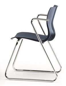 WEBBY 331, Chaise visiteur avec piètement luge en métal chromé