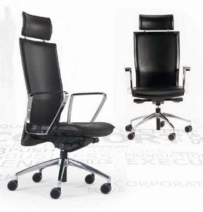 Kelly-PA, Chaise en cuir pour bureau, sur roulettes