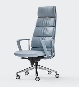 TRENDY FIRST CLASS, Fauteuil en cuir, design raffiné, pour le bureau du gestionnaire